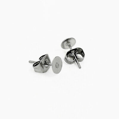 25 x Pairs 316 Stainless Steel 5mm Pad Earring Studs w/ Backings