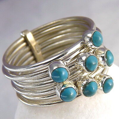US 8 1/4 ~ SILVERSARI Stack of 7 Rings with Gems ~TURQUOISE~ 925 Sterling Silver