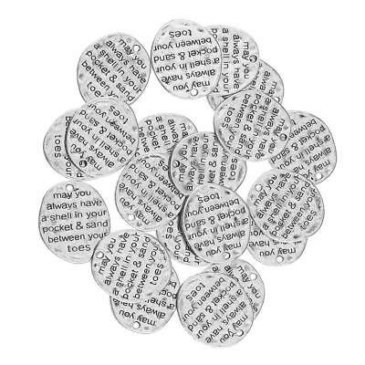 20x Retro Silver Pendant Charms Motto Necklace Tags Fashion Jewelry Findings