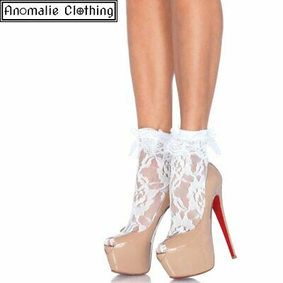 Leg Avenue Lace Anklet with Ruffle in White