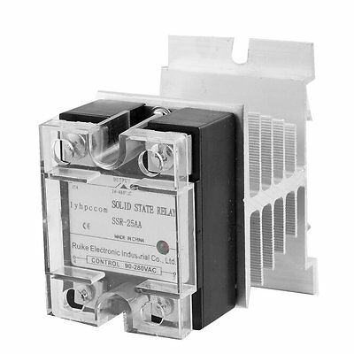 Uxcell 25A AC-AC Solid State Relay SSR AC 90-280V to 24-480V + Heat Sink I8M