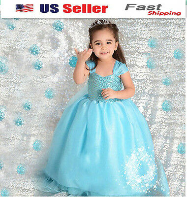 NEW Gorgeous Frozen Queen Elsa Princess Dress Up Cosplay Costume Party USA K4