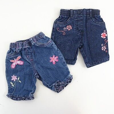 2 Pair Newborn New Baby Girl 11lbs 1 Month Embroidered Jeans Trousers Next Adams