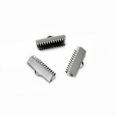 10 x Stainless Steel 20mm x 7mm Ribbon Crimp Ends / Clamps / Tips