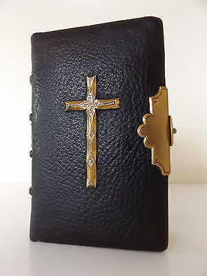 c1842 BEAUTIFUL Book of Common Prayer LEATHER Brass Decoration & Clasp BIBLE