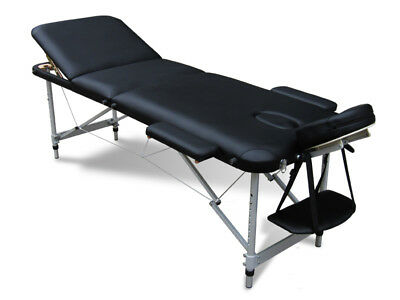 Cosmetic Damage Black Portable Massage Table Bed Therapy Couch 3 Section ALU