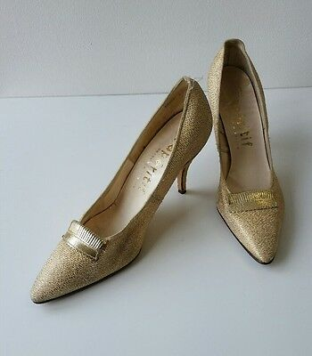 50s 60s Original Vintage Rockabilly Evening Gold Shoes UK 5.5 Stiletto Heel