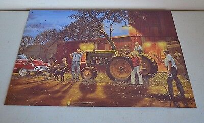 """Used John Deere Tractor Pitchin For A Double Ringer 12.5"""" X 17"""" Metal/tin Sign"""