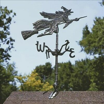 Witch Weather-Vane Metal Broom Riding Witch Weathervane Wicca Samhain Pagan