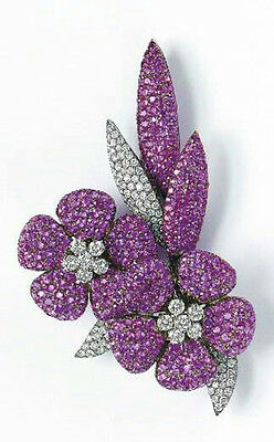 Beautiful flower brooch handmade purple white solid 925 sterling silver pave set