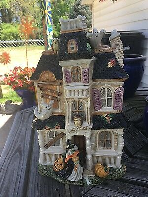 Fitz & Floyd Halloween Harvest Haunted House Cookie Jar Witch Ghost