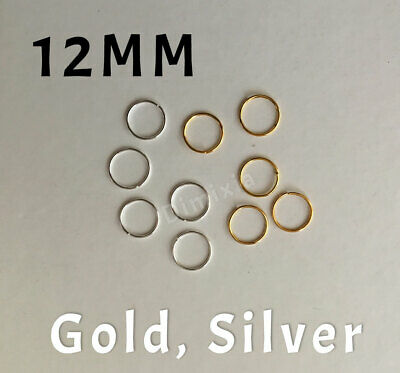 Silver Open Jump Rings Split Thick Firm Keyring Ring Round Circle Findings 12mm
