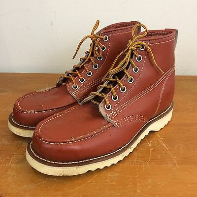 Vintage 70s Mens 10 E Moc Toe Brown Leather Crepe Sole Work Boots