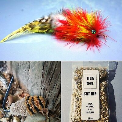 Feather & Felt Fish Triple Pack cat toy teaser by Tiga Toys, cat treat