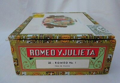 Romeo y Julieta Habana Wooden Cigar Box Cuba white printed paper covered EMPTY