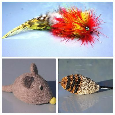 Mouse Feather & Felt Triple Pack cat toy teaser job lot Tiga Toys, gift