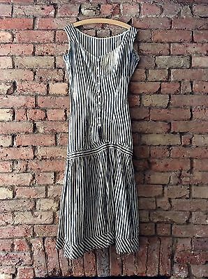 Antique Early 1900s French Handmade Vintage Striped Long Dress