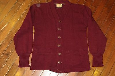 Vintage 40s Brent Montgomery Ward Mens Small Burgundy Wool Cardigan Sweater