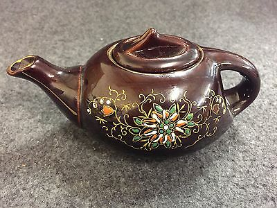 Vintage Japan Teapot Brown Glaze Hand Painted Flowers Butterfly Red Clay