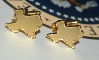 President George W. Bush Gold-Plated Texas State Cufflinks~ Signed