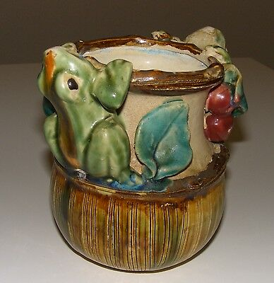 Majolica Earthenware Planter w/ 2 Frogs on Rim
