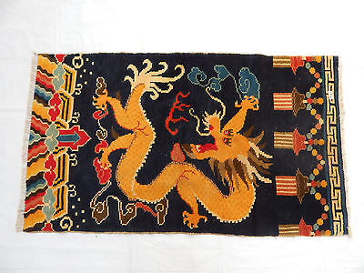 ANTIQUE ART DECO CHINESE DRAGON HAND MADE RUG/WALL HANGING 141X82cm (R79)