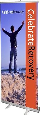 Celebrate Recovery Retractable Banner Stand w/ Gloss Print, Free Design & Case