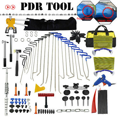 PDR Hail Removal Dent Repair Puller Rods Kit Paintless Puller Hammer & Tab Tools