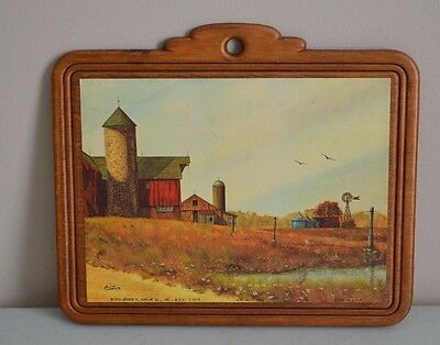 Alan Carter 1979 Arthur A Kaplan Olde Water Hole Litho Wood Wall Hanging 9X8