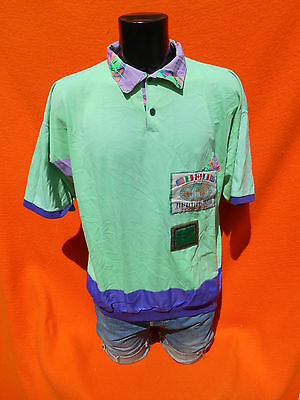 PROJECTION PRIVÉE T Shirt Polo True Vintage 80s Made in France Neon Fluo Patchs
