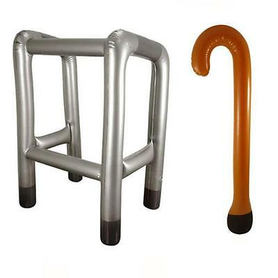 Inflatable Blow Up Zimmer Frame and or Walking Stick NOVELTY PRESENT JOKE Oldie