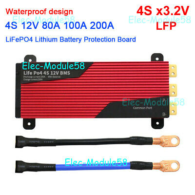 4S 80A 100A 200A 12V LiFePO4 Lithium Battery Protection Board BMS Balance 3.2Vx4