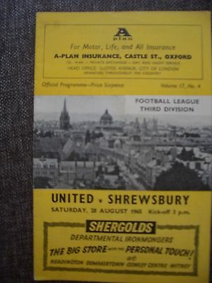 1965...OXFORD UNITED v SHREWSBURY TOWN....Division 3......Football Programme