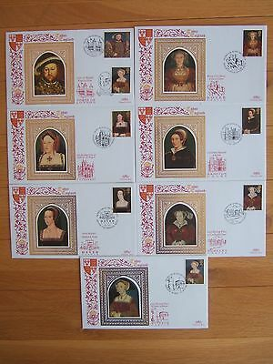 GREAT BRITAIN 1997 BENHAM LTD EDT SET OF 7 x HENRY VIII SILK FIRST DAY COVERS