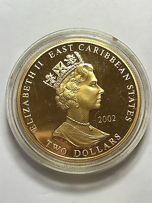 Duke Of Wellington 2002 $2 Dollars 24ct Gold Plated Piedfort Proof Coin