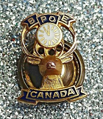 BPOE Elks Club Lodge Canada Lapel Pin Gold tone Blue Enamel