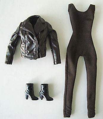 Barbie Doll Clothes/Fashion Brown Body Suit, Faux Leather Jacket, Boots NEW!