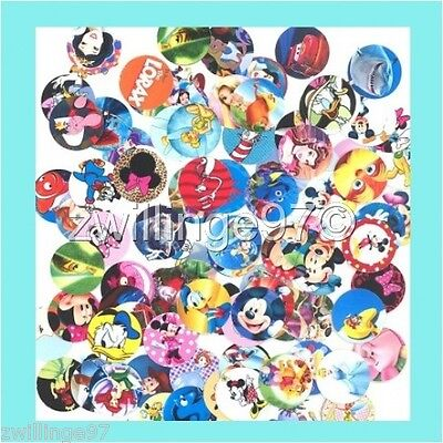 100 Precut assorted All DISNEY MOVIE VARIETY MIX GLOSSY BOTTLE CAP IMAGES