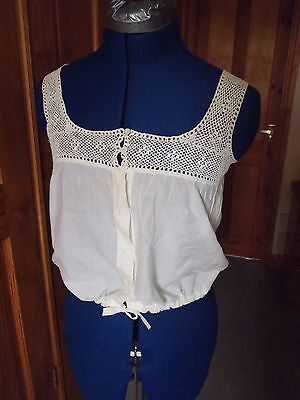 """Antique Edwardian Camisole With Crochet Lace Size 34"""" Bust"""