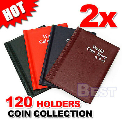 2x 120 Coin Holders Collection Storage Money Penny Pockets Book Album Collecting