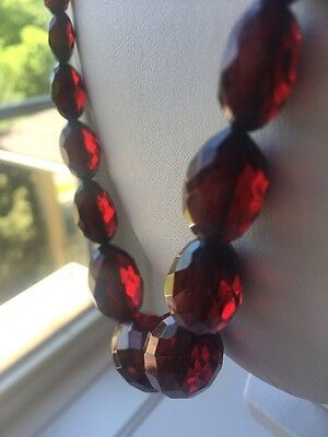 Vintage Art Deco Faceted Cherry Amber Bakelite Beads Necklace