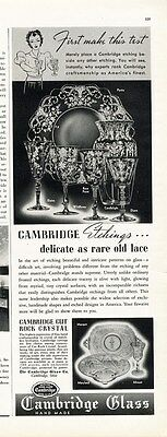 CAMBRIDGE GLASS Ad 1939 Cut Rock Crystal Etched PAPER Advertisement