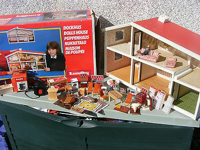 Lundby Dolls House With Lights And Furniture & Dolls