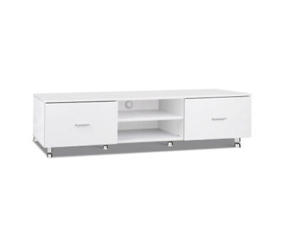 Luxury Low High Gloss White TV Table Entertainment Home Theatre Unit