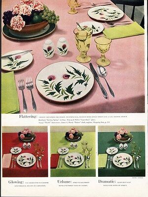 STANGL Dinnerware THISTLE Pattern Ad 1950 Place Setting Page Duncan Glass Dishes