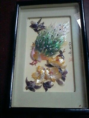 Vintage Shadow Box Shell Work Asian Design Peacock Picture signed