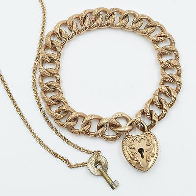Antique Victorian Gold Filled Chased Heart Padlock Link Bracelet With Key