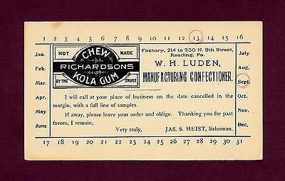 Very Rare - 1906 Luden Co. Salesman Postcard (Richardson's Kola Chewing Gum)