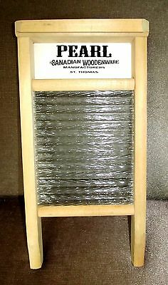 Vintage small scrub wash board PEARL Canada laundry wood stored-nr mint new