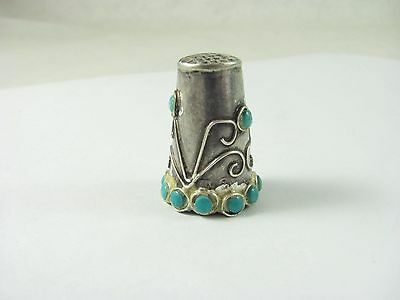 Vtg STERLING SILVER THIMBLE MEXICO TURQUOISE ~ ORNATE SCROLL DESIGN